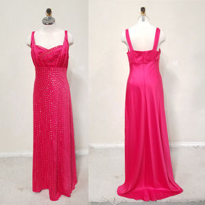 Hand Embellished Hot Pink Ball Gown by an Artisan